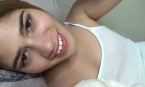 gf joi in bed jizzes for you after playing with snatch