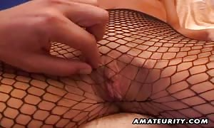 A turned on dark-haired newcummer girl-friend
