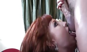 gigantic funbag red head nailing in thigh high pantyhose