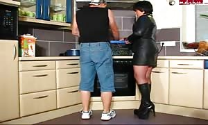 hot cougar In Leather and Boots will get It In Kitchen